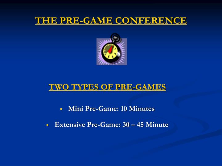 The pre game conference1