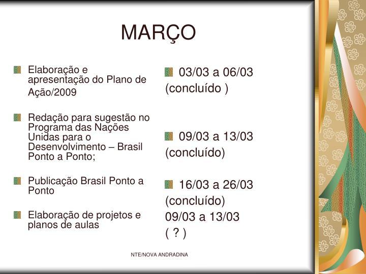 Elaboração e apresentação do Plano de Ação/2009