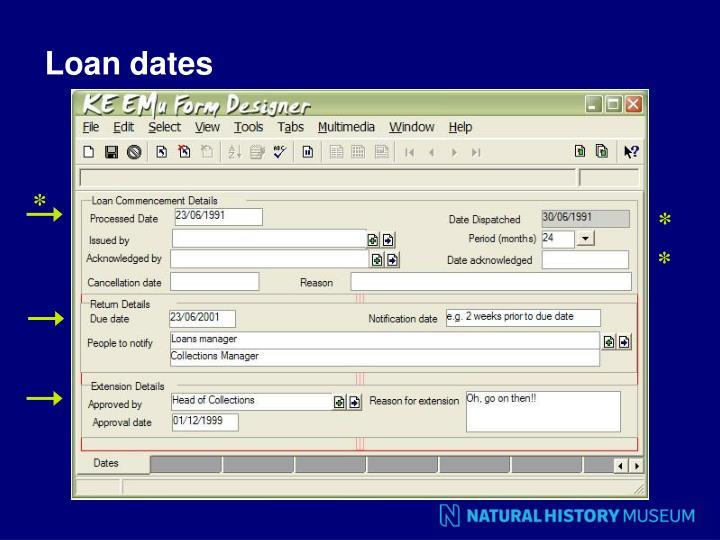 Loan dates