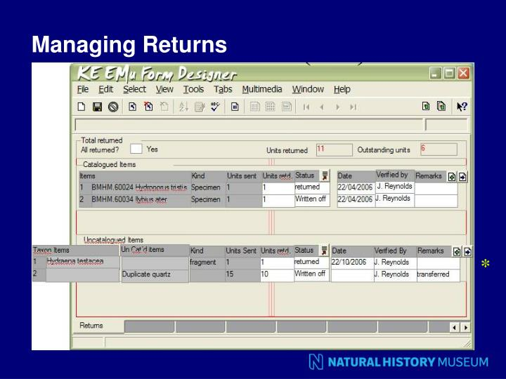 Managing Returns