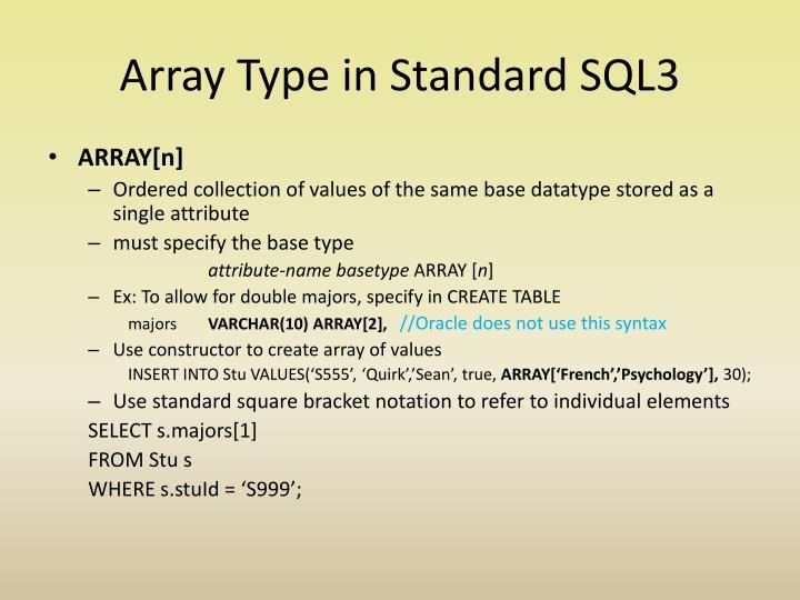 Array Type in Standard SQL3