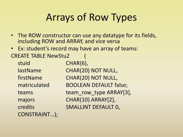 Arrays of Row Types