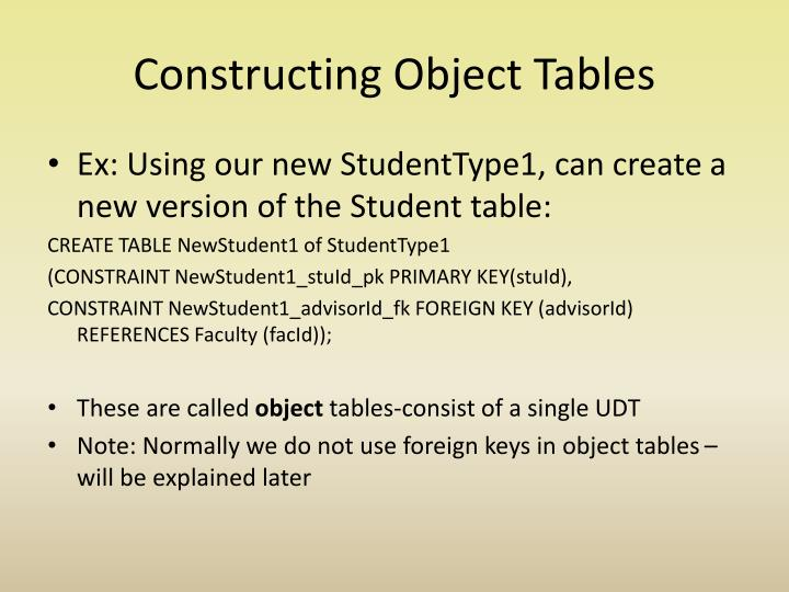 Constructing Object Tables
