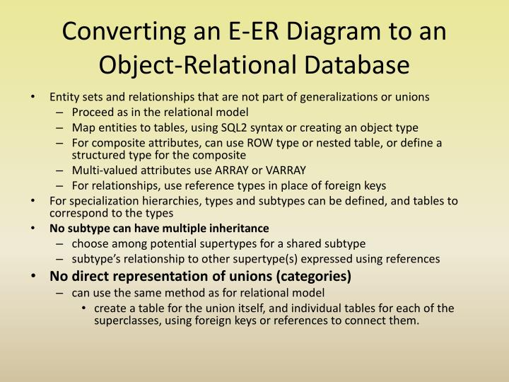 Converting an E-ER Diagram to an Object-Relational Database