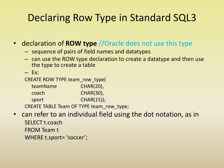 Declaring Row Type in Standard SQL3