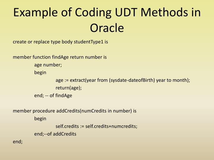 Example of Coding UDT Methods in Oracle