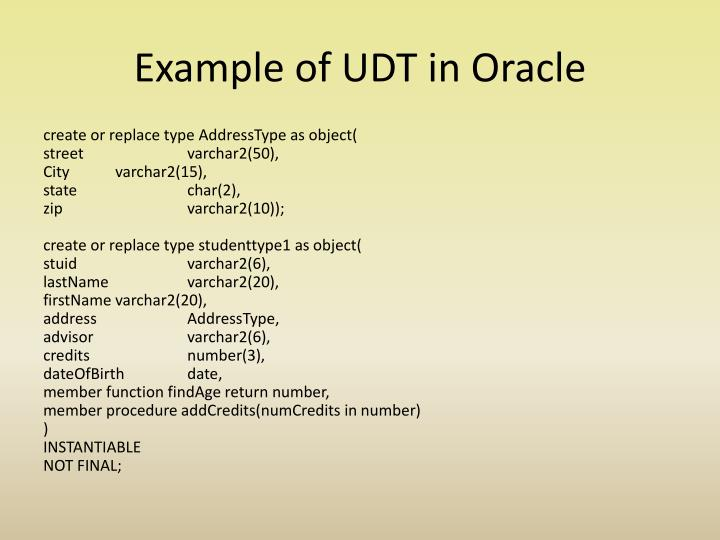 Example of UDT in Oracle