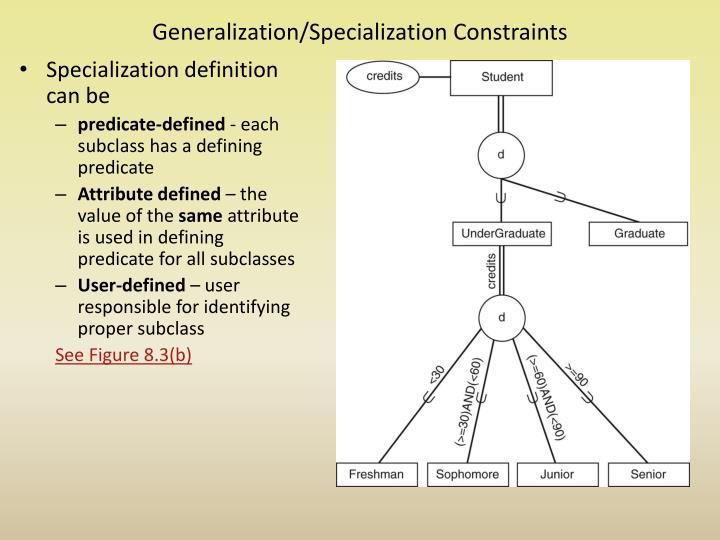 Generalization/Specialization Constraints