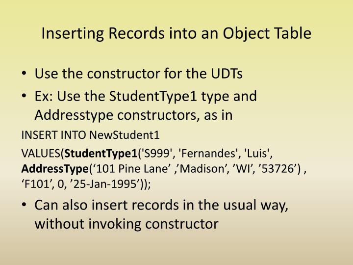 Inserting Records into an Object Table
