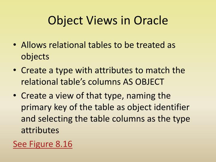Object Views in Oracle
