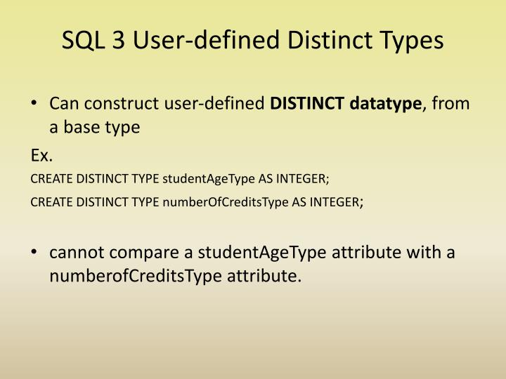 SQL 3 User-defined Distinct Types