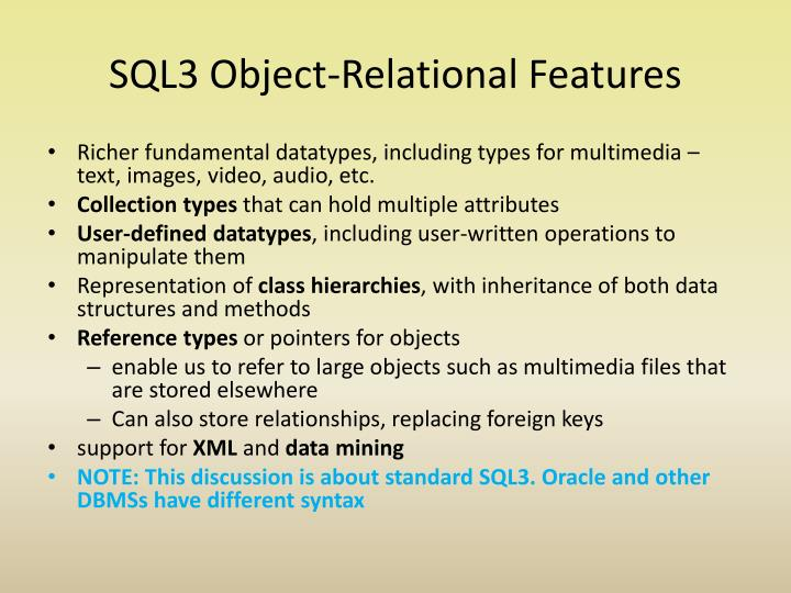 SQL3 Object-Relational Features