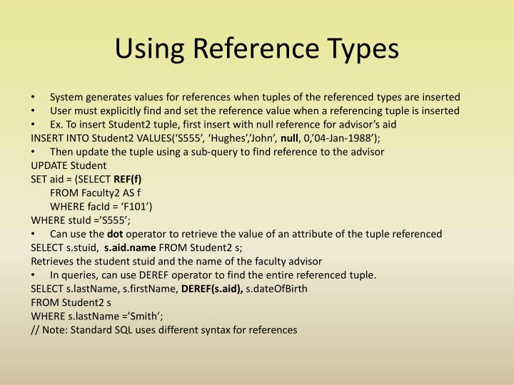 Using Reference Types