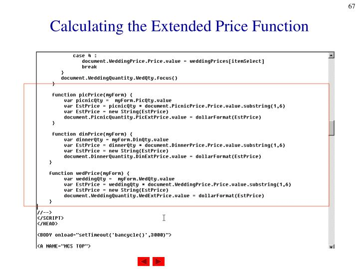Calculating the Extended Price Function