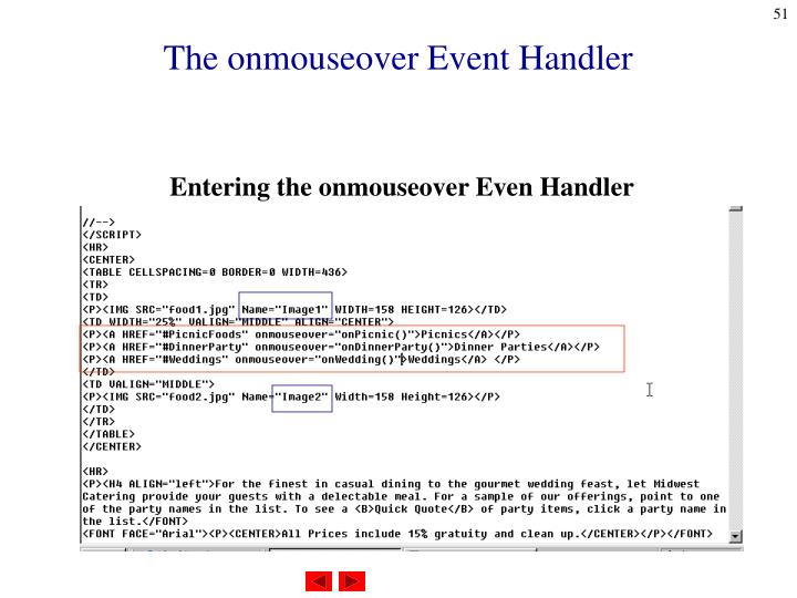 The onmouseover Event Handler