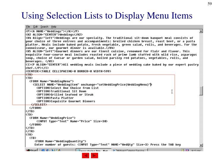 Using Selection Lists to Display Menu Items