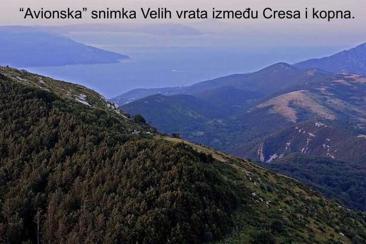 """""""Avionska"""" snimka Velih vrata između Cresa i kopna."""