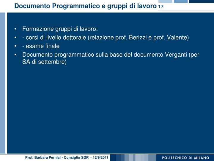 Documento Programmatico e gruppi di lavoro