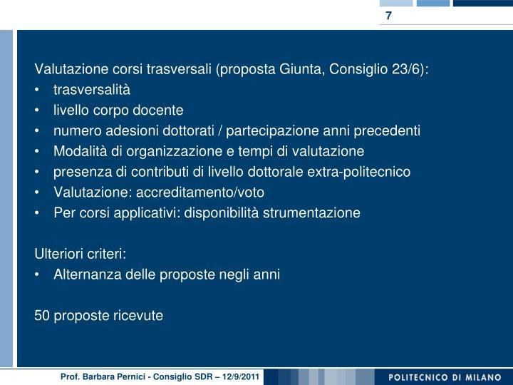 Valutazione corsi trasversali (proposta Giunta, Consiglio 23/