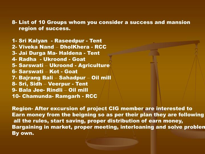 8- List of 10 Groups whom you consider a success and mansion