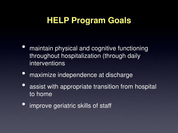 HELP Program Goals