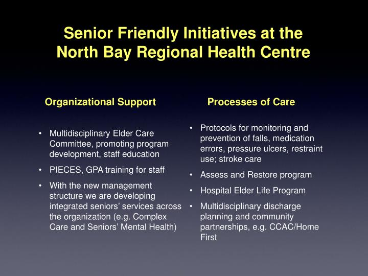 Multidisciplinary Elder Care Committee, promoting program development, staff education