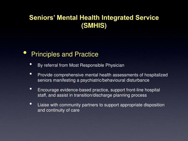 Seniors' Mental Health Integrated Service
