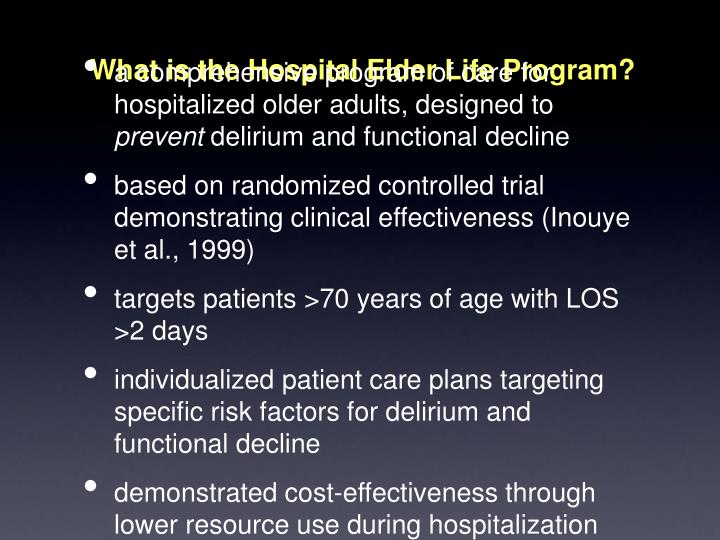 What is the Hospital Elder Life Program?