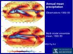 annual mean precipitation observations 1980 99 multi model ensemble mean 1980 99
