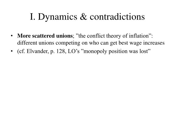 I. Dynamics & contradictions