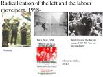 radicalization of the left and the labour movement 1968