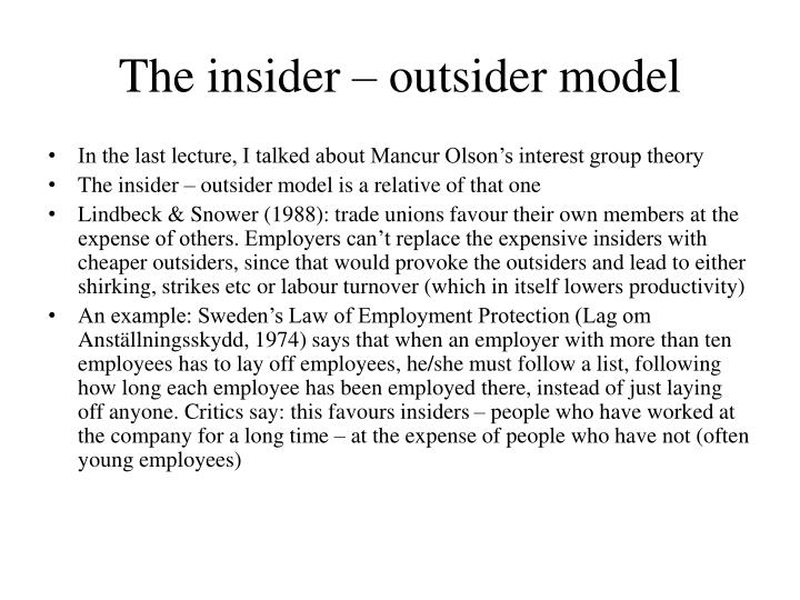 The insider – outsider model