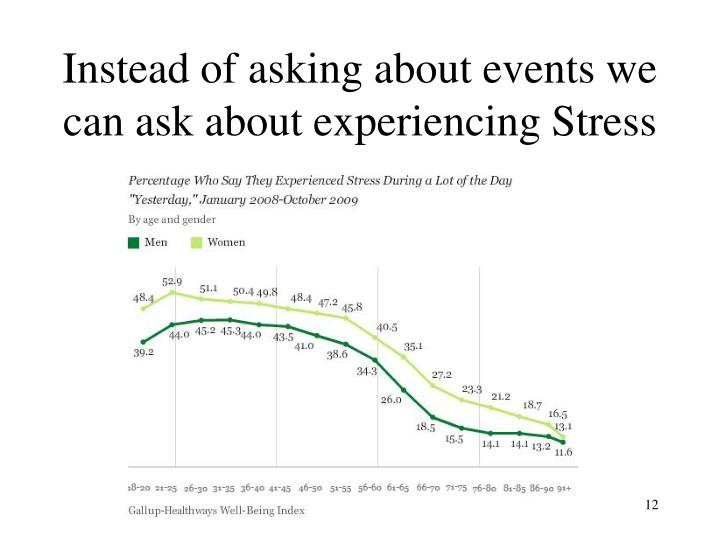 Instead of asking about events we can ask about experiencing Stress