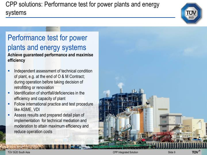 CPP solutions: Performance test for power plants and energy systems