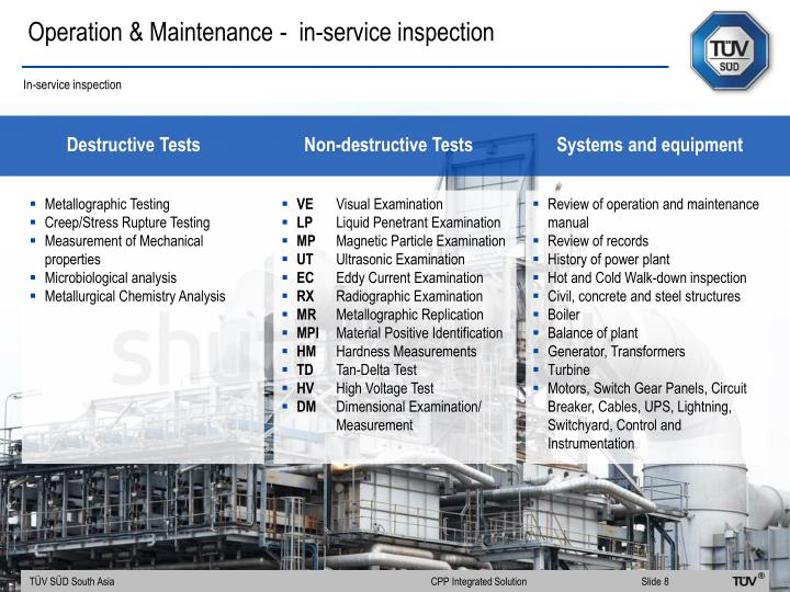 Operation & Maintenance -  in-service inspection