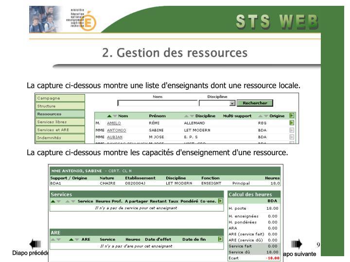 2. Gestion des ressources