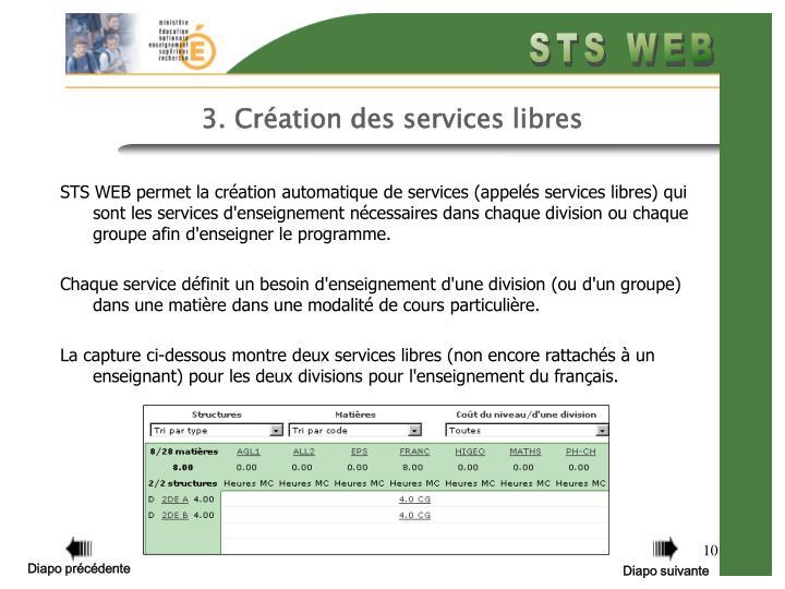 3. Création des services libres