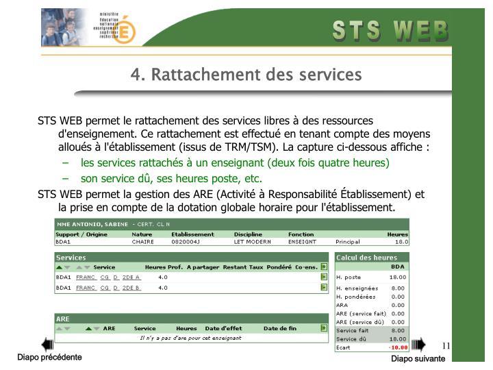 4. Rattachement des services