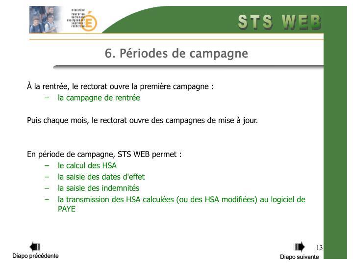 6. Périodes de campagne