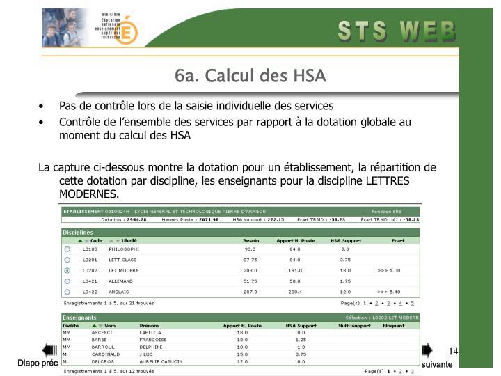 6a. Calcul des HSA