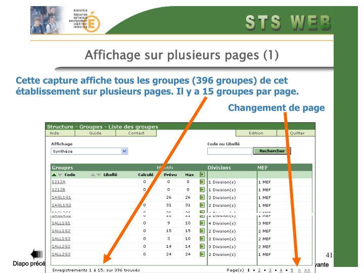 Affichage sur plusieurs pages (1)