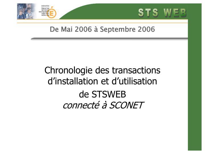 De Mai 2006 à Septembre 2006