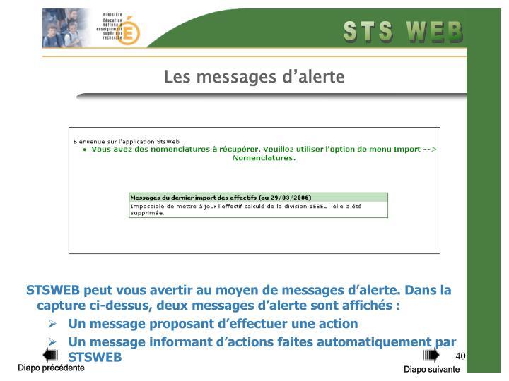 Les messages d'alerte