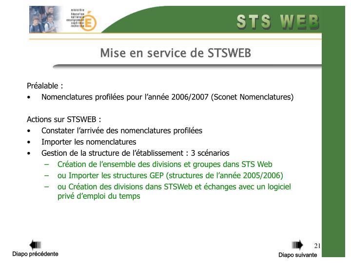 Mise en service de STSWEB