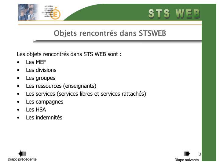 Objets rencontrés dans STSWEB