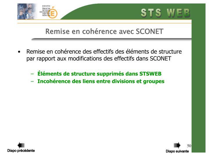 Remise en cohérence des effectifs des éléments de structure par rapport aux modifications des effectifs dans SCONET