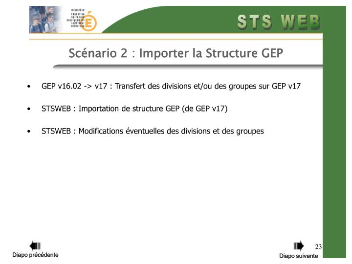 Scénario 2 : Importer la Structure GEP