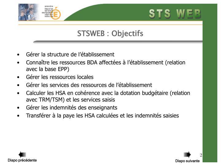 STSWEB : Objectifs