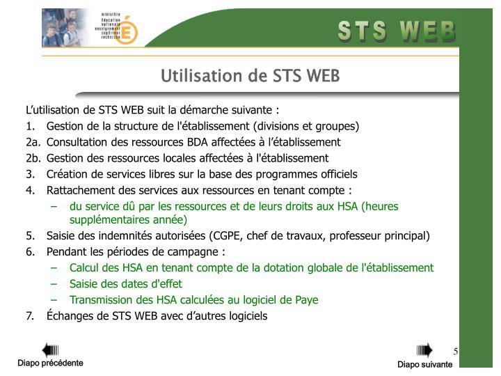 Utilisation de STS WEB