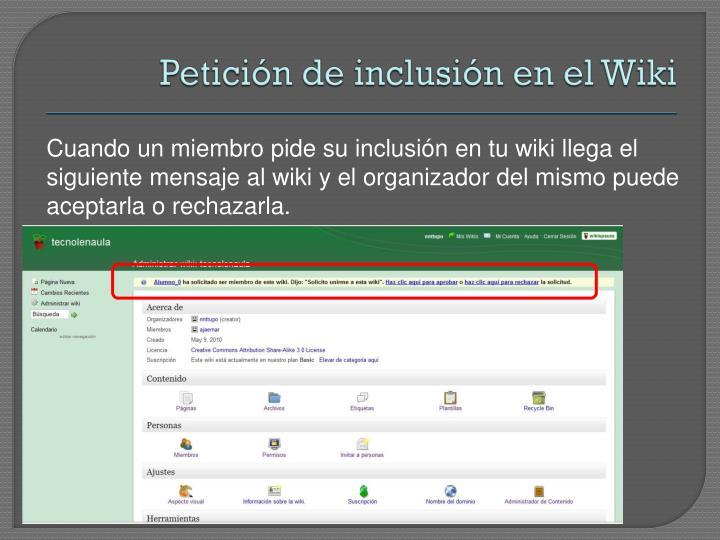 Petición de inclusión en el Wiki